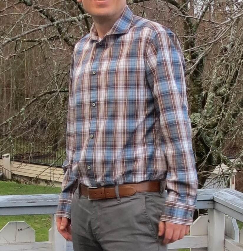 Burda herreskjorte i rutete brun/blå skjotestoff