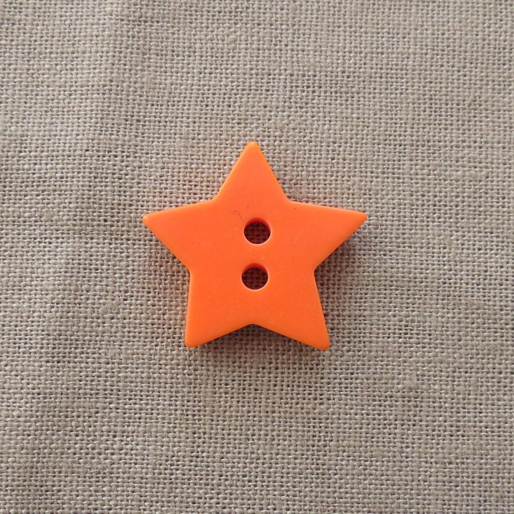 Halv blank knapp - Stjerne - Oransje
