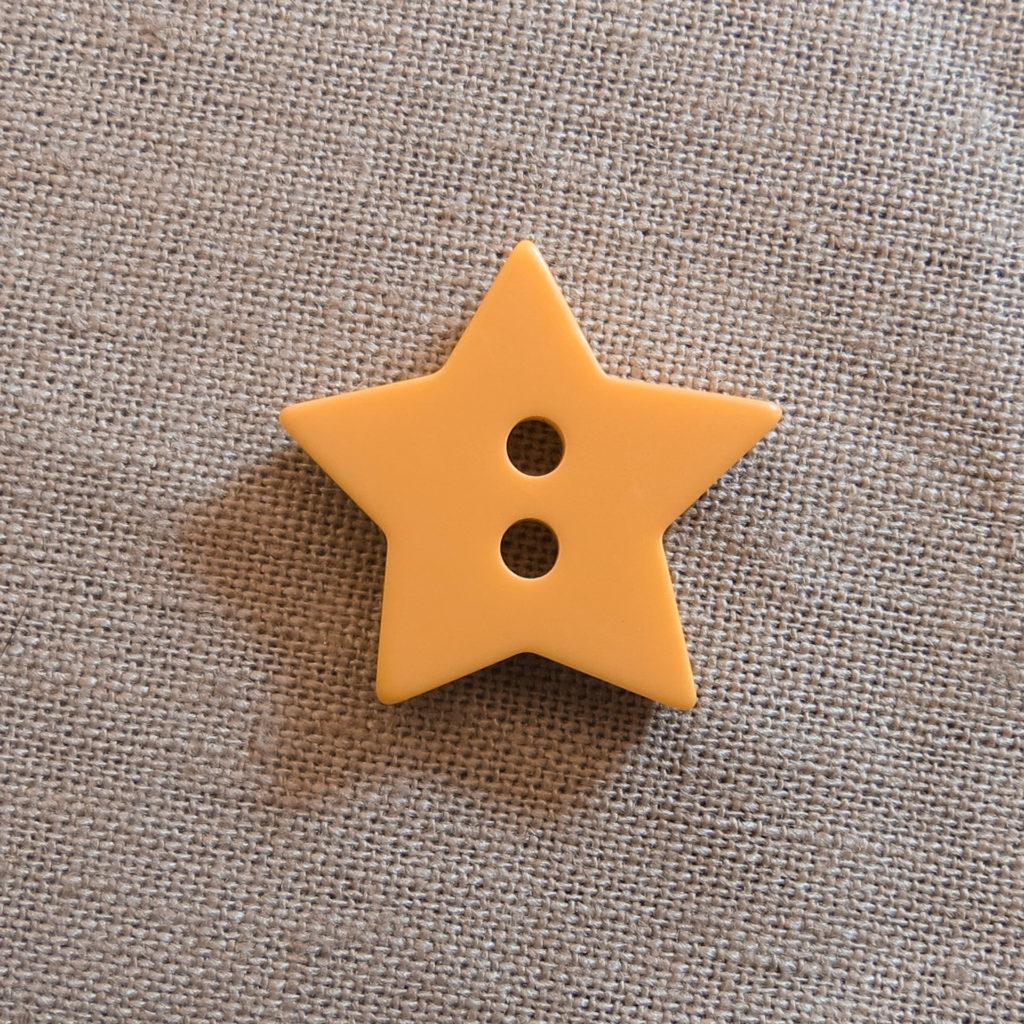 Halv blank knapp - Stjerne - Gul