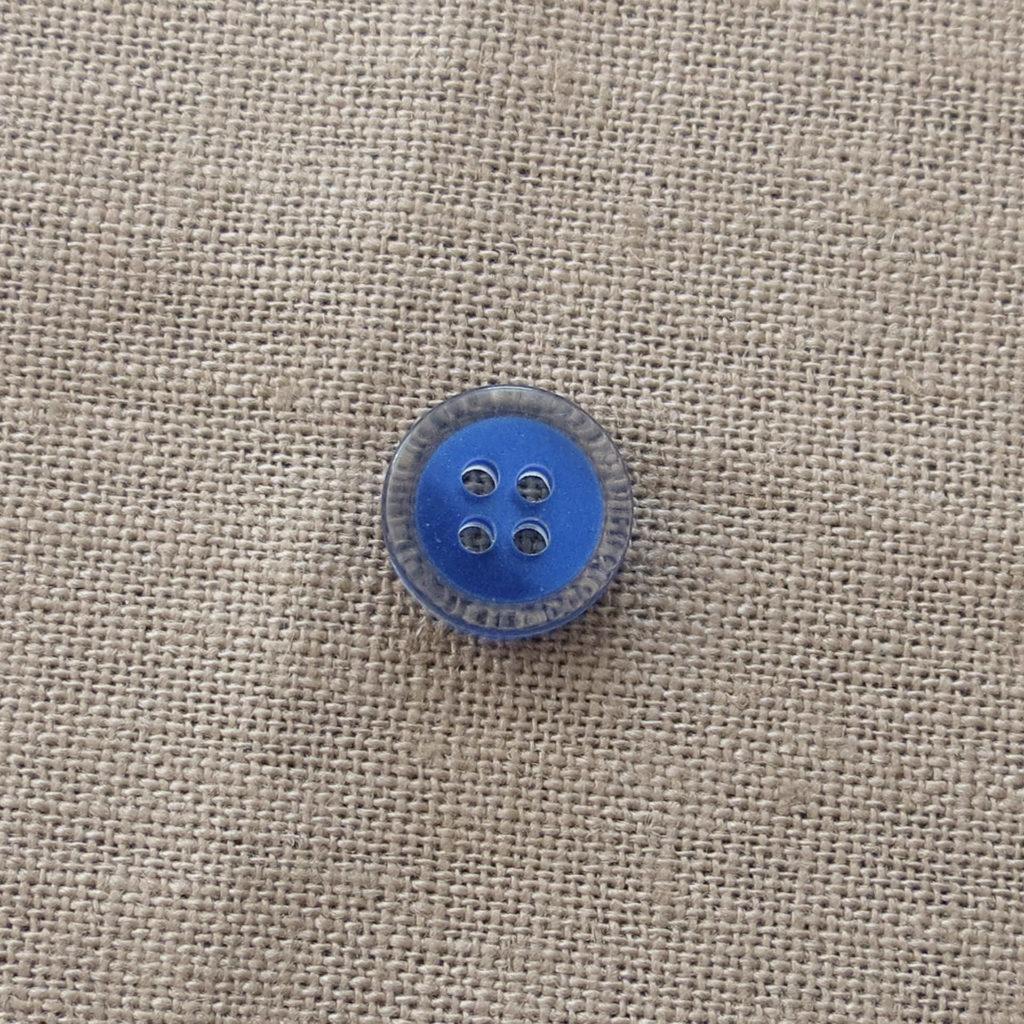 Rund halv blank knapp - Fanget farge liten - blå