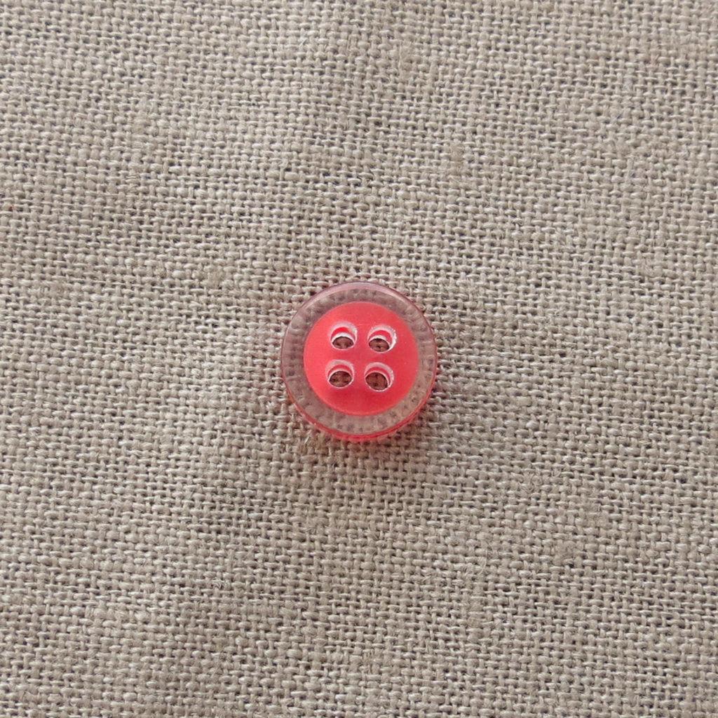 Rund halv blank knapp - Fanget farge liten - Rød