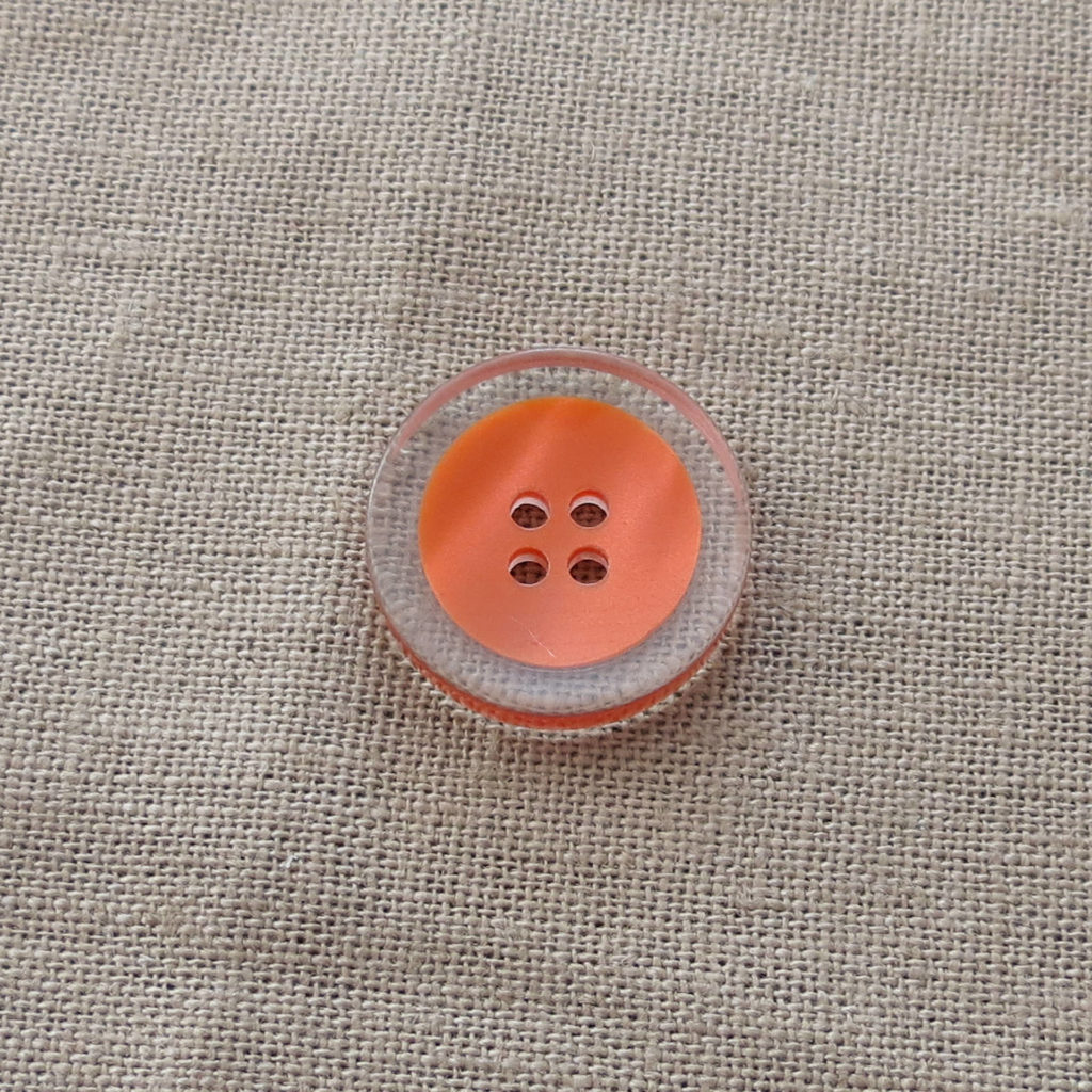 Rund halv blank knapp - Fanget farge stor - oransje
