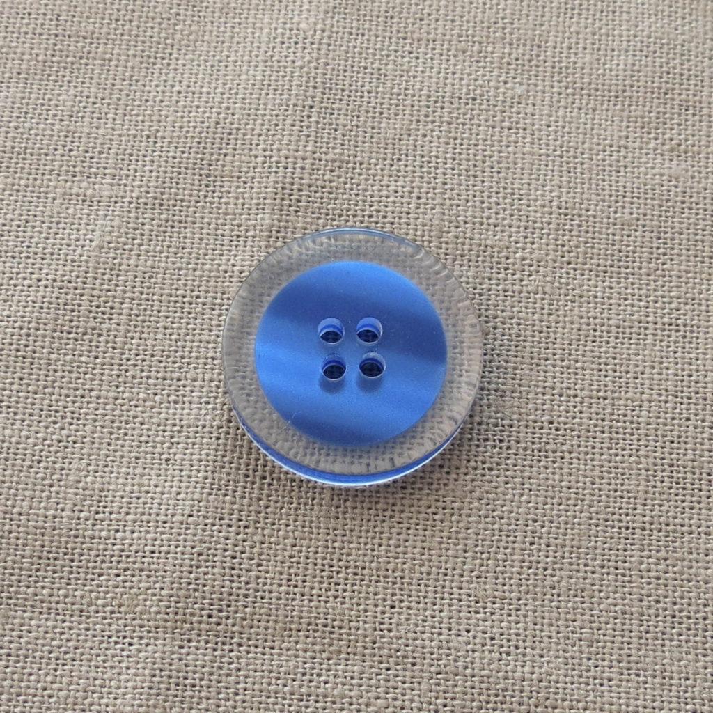 Rund halv blank knapp - Fanget farge stor - blå