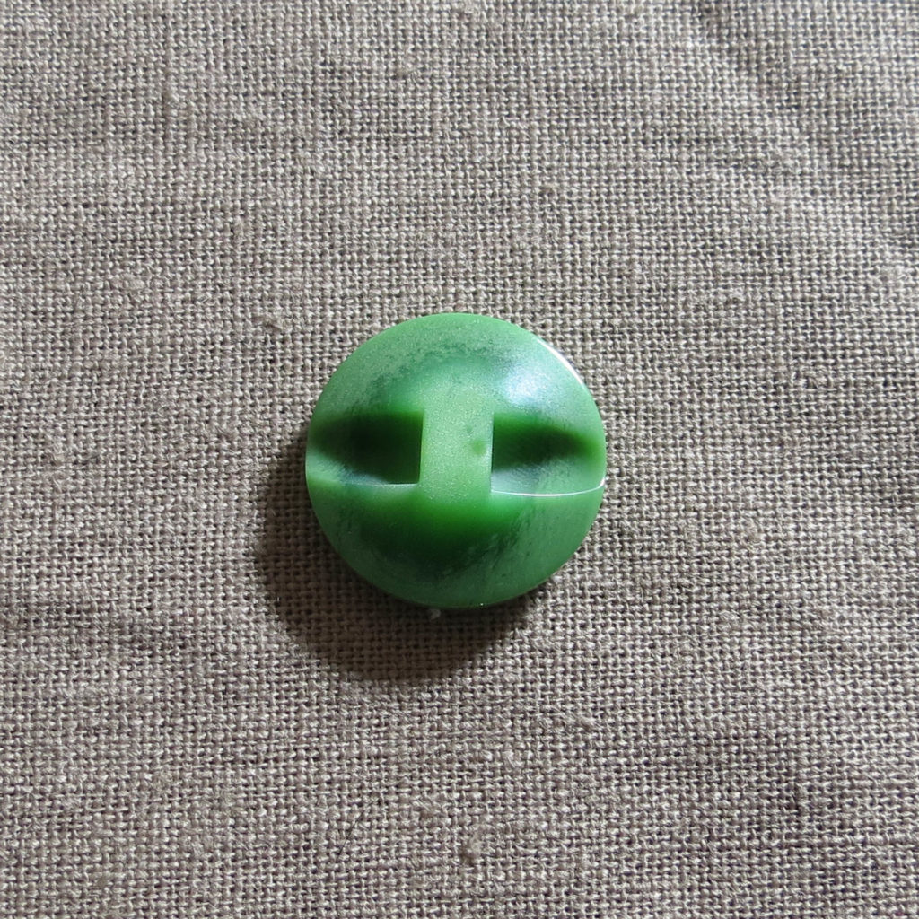 Rund halv blank knapp - Under isen - Grønn