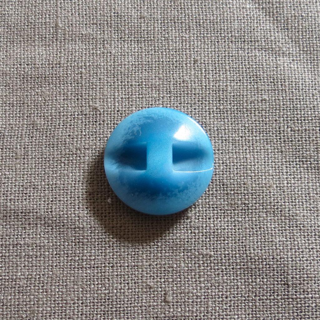 Rund halv blank knapp - Under isen - blå