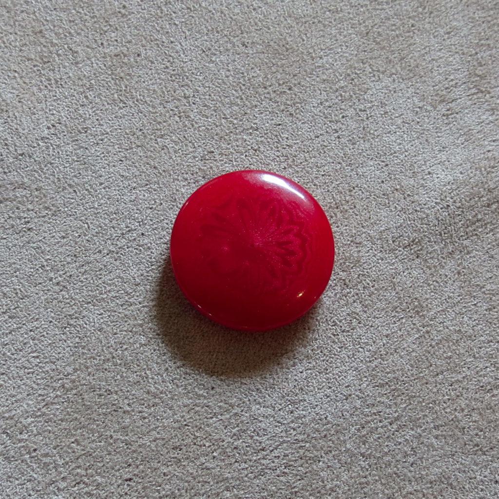 Rund halvblank knapp - Abstrak Blomst solid - Rød