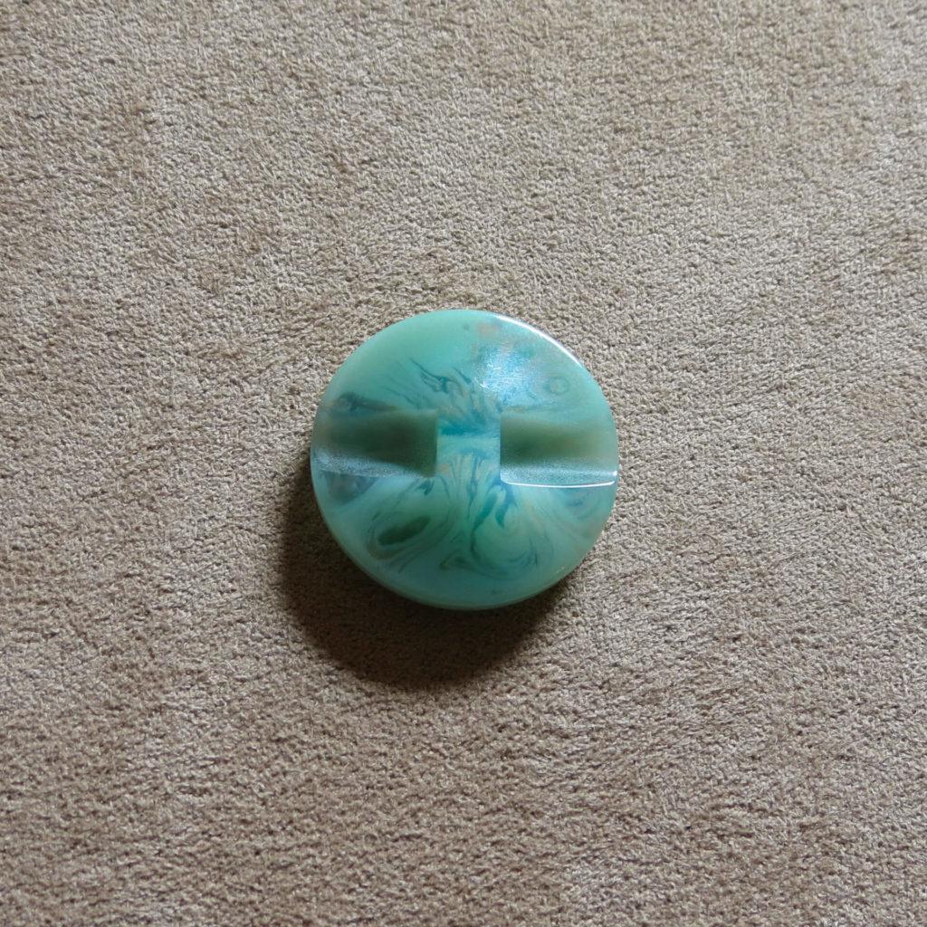 Rund halvblank knapp - Påfugl - Grønn/Gull
