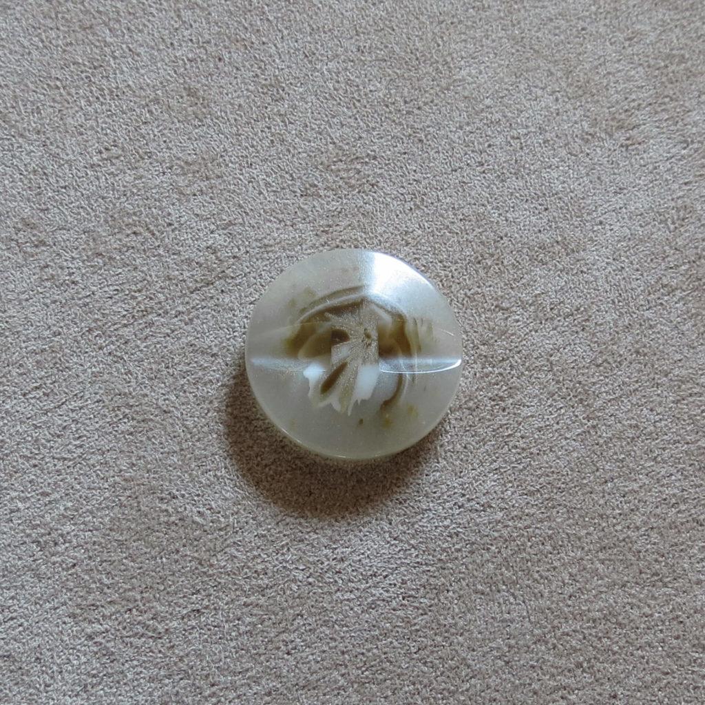 Rund halvblank knapp - Abstrak Blomst Gjennomsiktig - Beige
