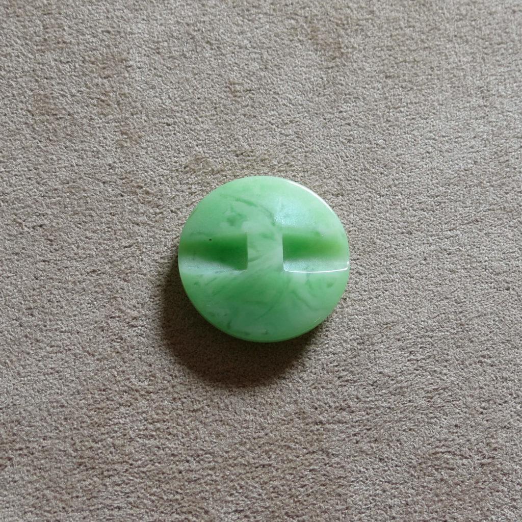 Rund halvblank knapp - Påfugl myk - Grønn