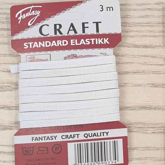Strikk/Elastikk 6mm - Hvit